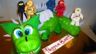 "Торт ""Дракоша"". Ниндзя-ниндзяго из мастики / LEGO - Ninjago. Dragon cake. HOW TO MAKE EASY CAKE"
