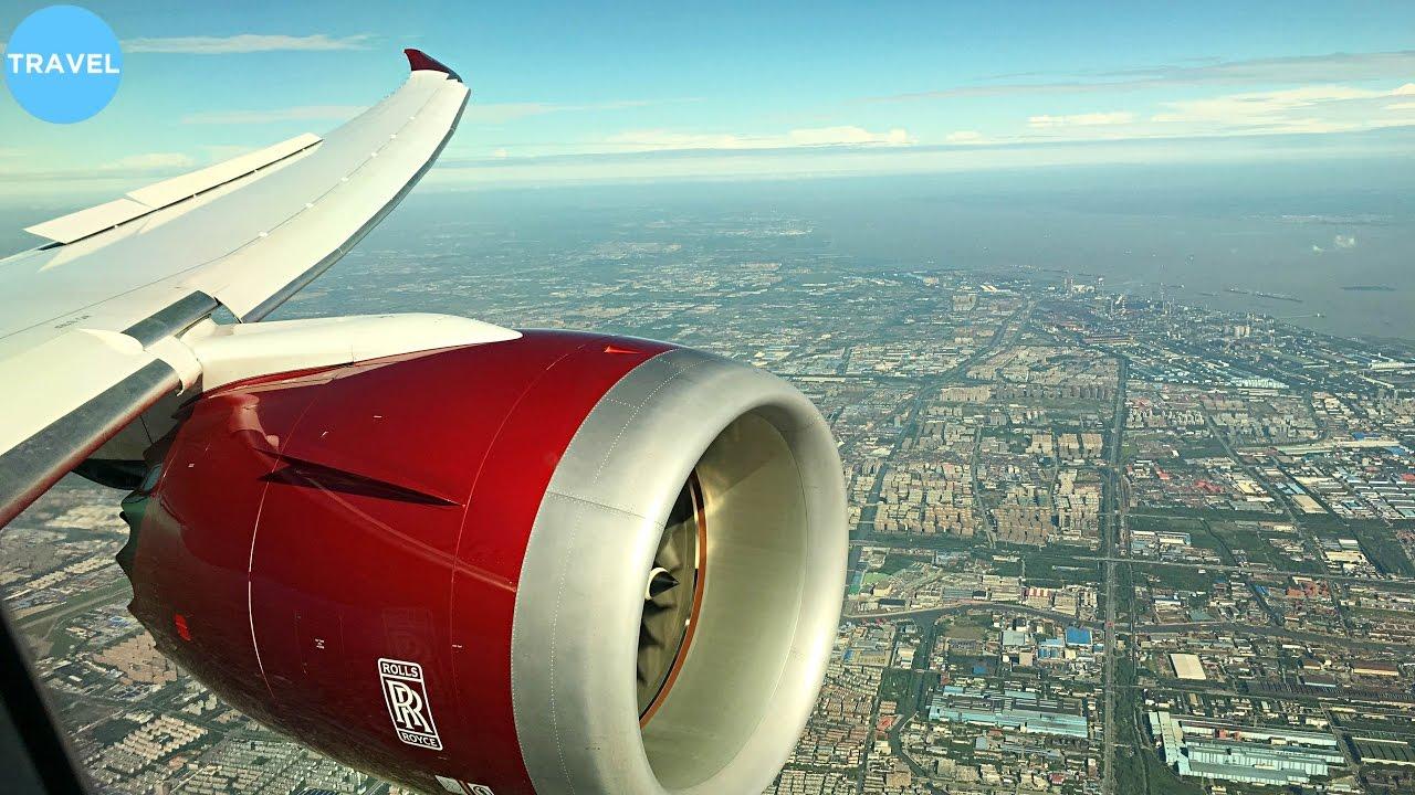 Virgin Atlantic Boeing 787-9 Rare Sunny Morning Landing at Shanghai Pudong!