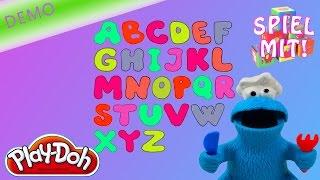Play doh Krümelmonster Buchstabensuppe - das ABC lernen mit Sesamstrasse Knete [deutsch] (demo)