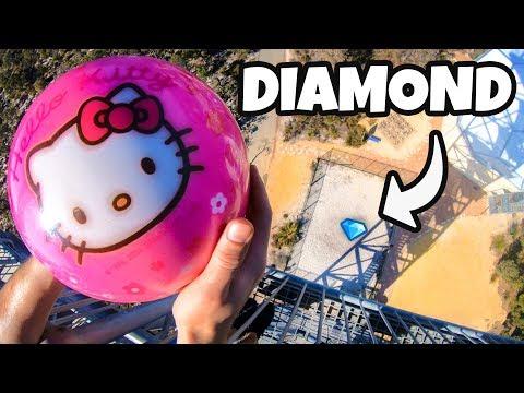 BOWLING BALL Vs. 1 CARAT DIAMOND from 45m!