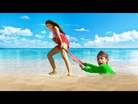 Bela Bagunça TENTA SALVAR o Magu da Areia na Praia - Historinha da Bela em Portugues para Crianças