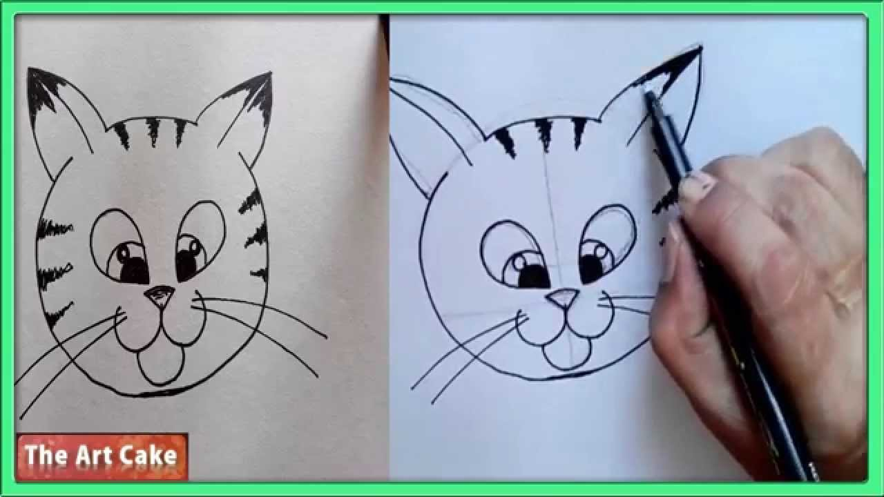 how to draw a cute cartoon cat face youtube