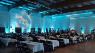 Duluth Armory in teal wedding lighting.