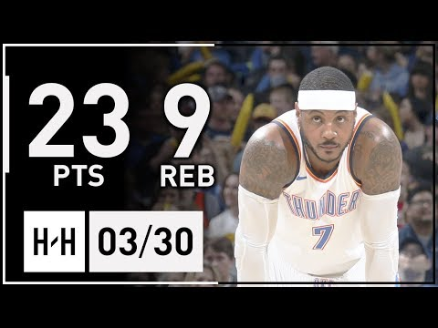 Carmelo Anthony Full Highlights Nuggets vs Thunder (2018.03.30) - 23 Pts, 9 Reb!