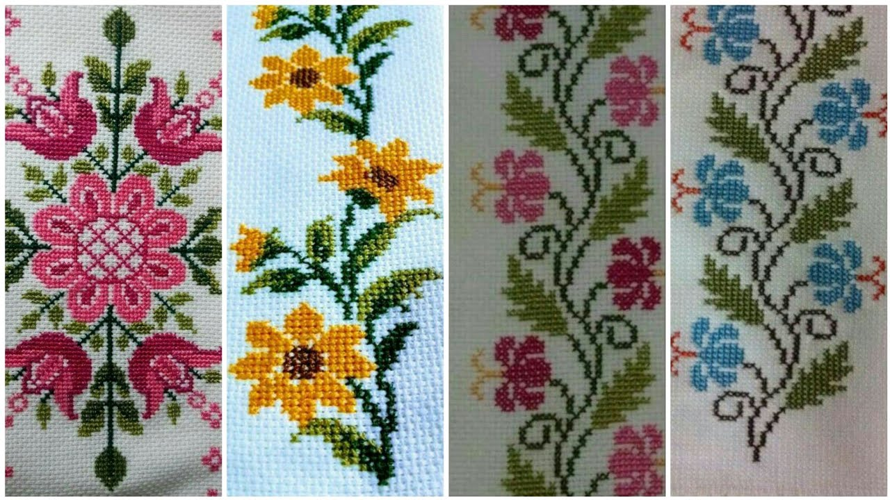 Marvelous Borderline Cross Stitch Patterns For Table Cloth Youtube