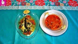 تحضيرشوربة سمك مع  طاجين  سمك في الفرن المطبخ التونسي بطريقة سهلة وصحية soupe de poisson:Tun cuisine