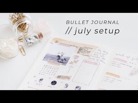 july bujo setup | floral & celestial
