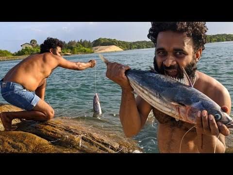 Sea Fish Catch and eat on the beach - Amazing fishing