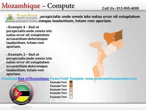 Map of Mozambique Power Point Template