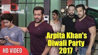Salman Khan At Arpita Khan's Diwali Party 2017   Bhaijaan Salman At Sister Arpita's Diwali