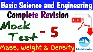 Target 35+ | Mock Test - 5 | Mass, Weight & Density | Basic Science & Engineering for RRB ALP CBT2