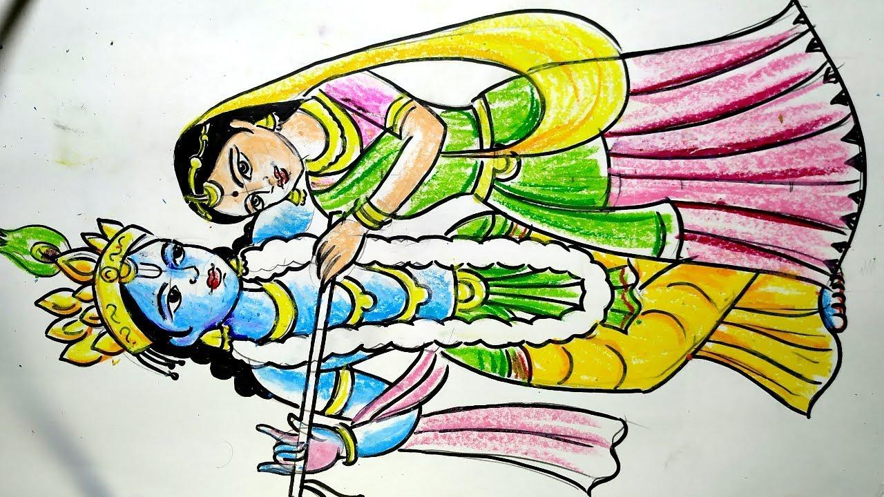 Rash Yatra Special Radha Krishna Drawing How To Draw Lord Krishna And Radha Lord Krishna Drawing Youtube
