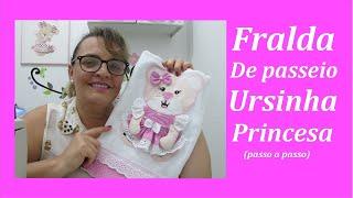 Fralda de passeio ursinha princesa – Bordado
