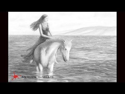cómo-dibujar-una-chica-a-caballo-en-el-agua