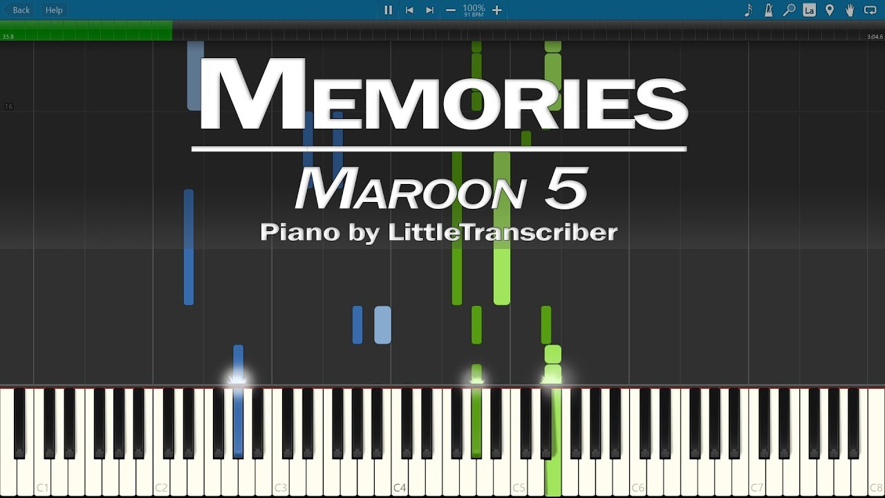 Maroon 5 Memories Piano Cover Synthesia Tutorial By Littletranscriber Youtube