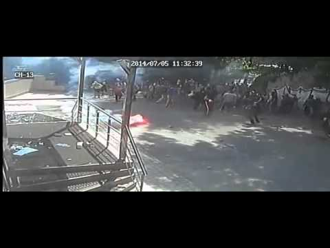 Kiev, Ukraine, 5.7.2014: Neonazis attacking newspaper Vesti