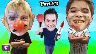 REVENGE! WEIRD CLOWN MAKE-UP FACES! Adults Turn to Prank KIDS Makeover Challenge Pt 2 HobbyKids