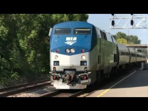 [AMTRAK]17 GE P42DC Phase V Solo Leads P089-04 SB Making A Station Stop & Fay NC