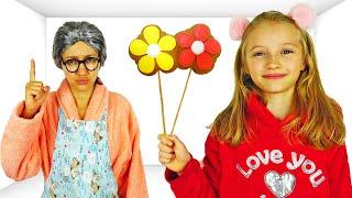La abuela prepara postres saludables para Polina.