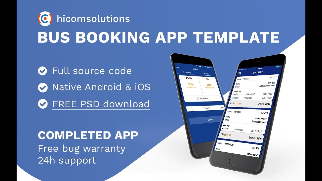 Bus ticket booking app template, script, source code for sale - YouTube