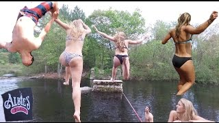Ridiculous Slack Line Over Water!