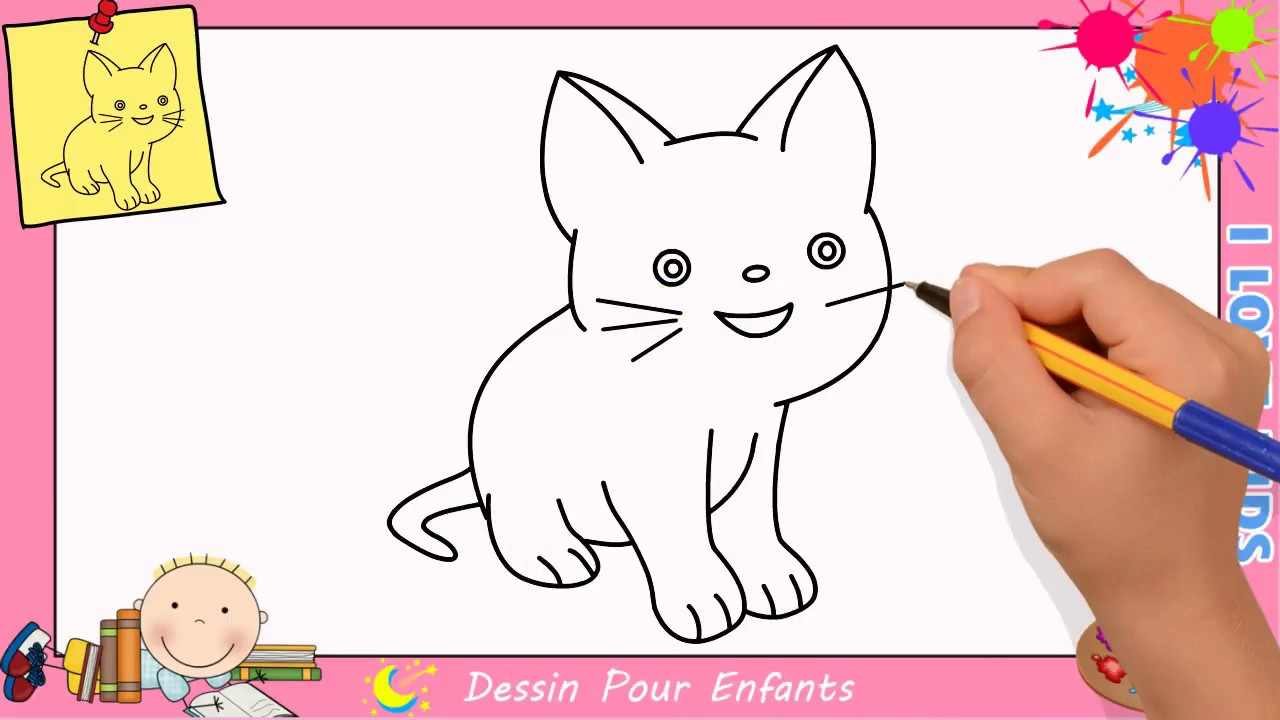 Dessin chat facile etape par etape comment dessiner un chat facilement 3 youtube - Un chat dessin ...