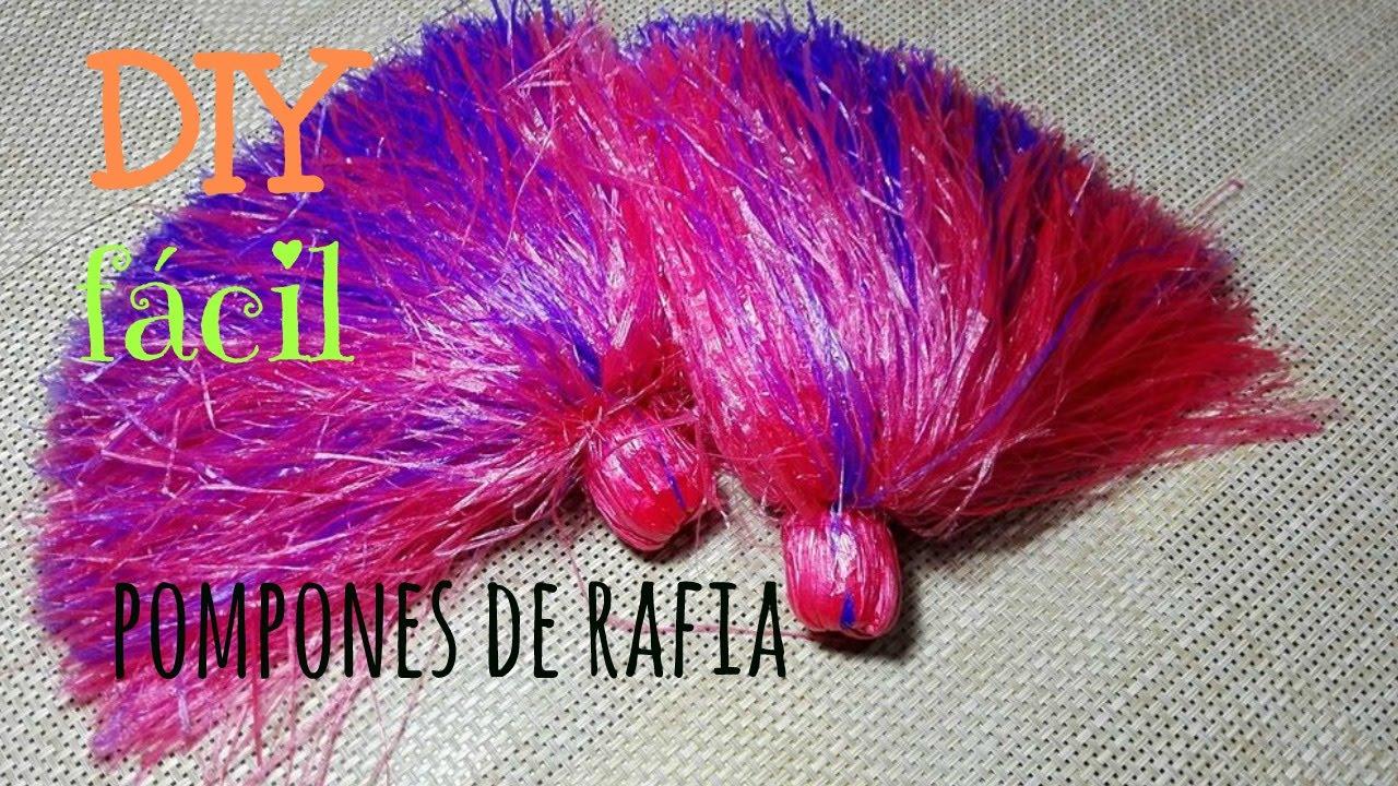 Pompones de rafia diy f cil youtube - Como hacer pompones ...
