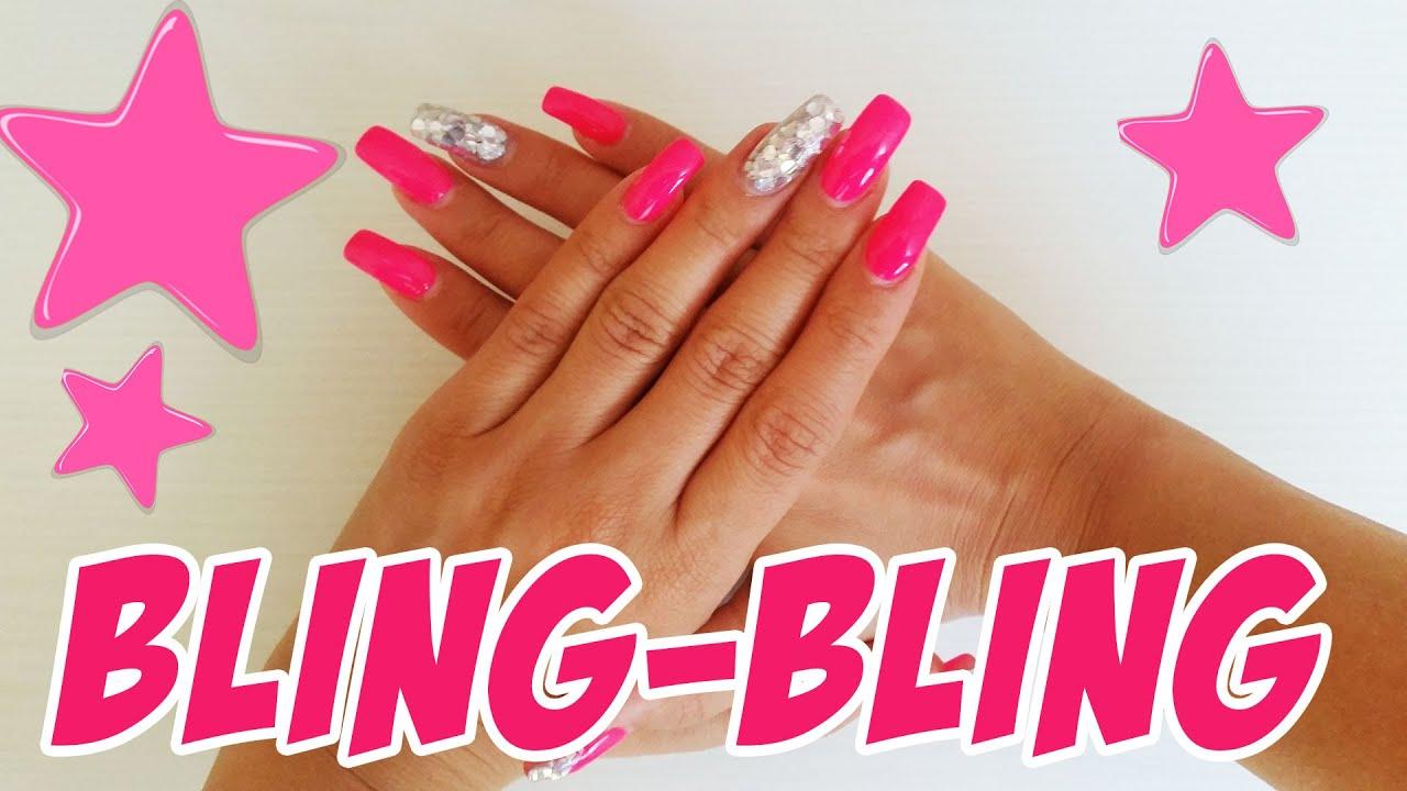 Nail Art #5 - Bling Barbie Nagel design - YouTube