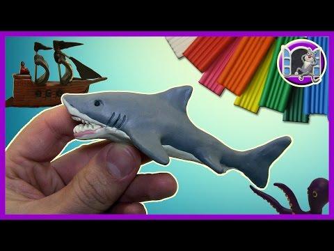 ЛЕПИМ БЕЛУЮ АКУЛУ ИЗ ПЛАСТИЛИНА   Видео Лепка   GREAT WHITE SHARK OUT OF CLAY