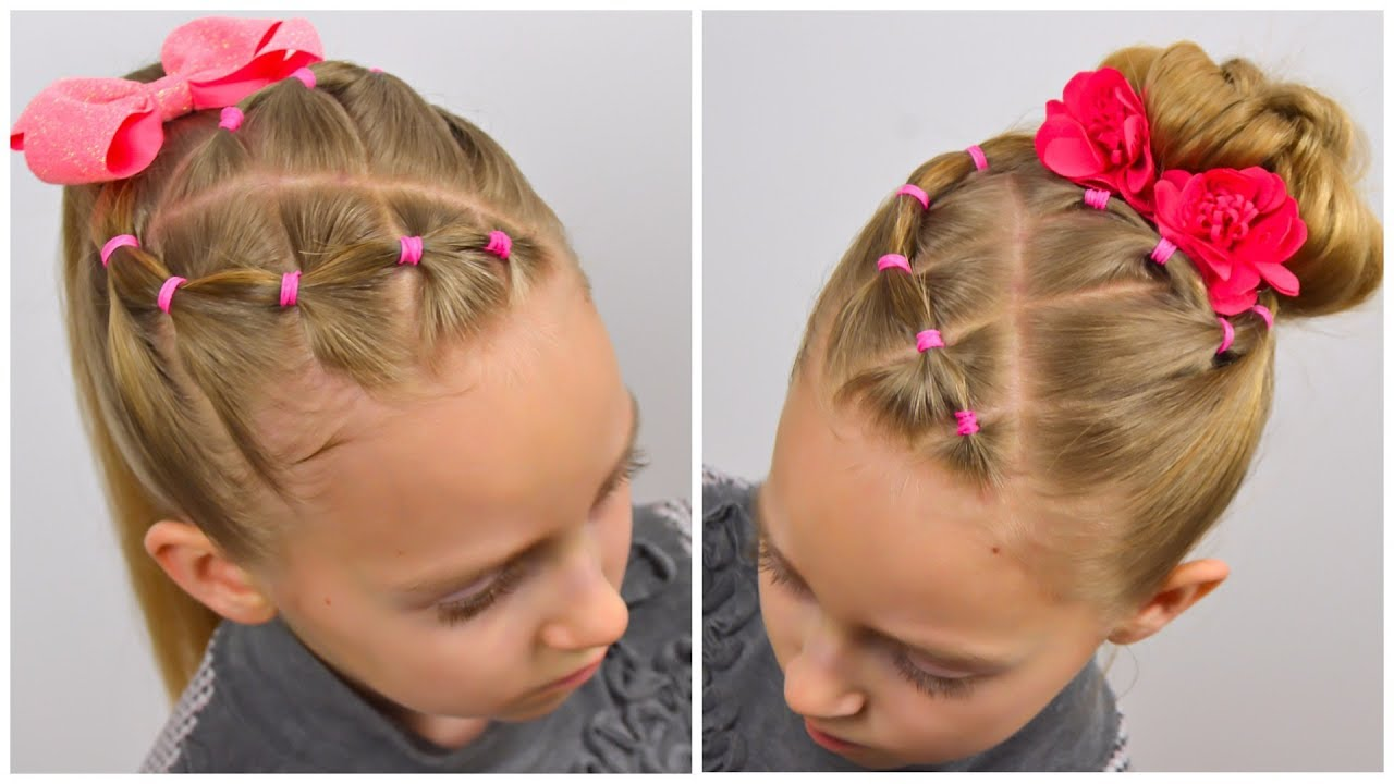 2 EASY hairstyles with PIGTAILS and ELASTICS/Messy Bun (Little girls hairstyles ) | LittleGirlHair