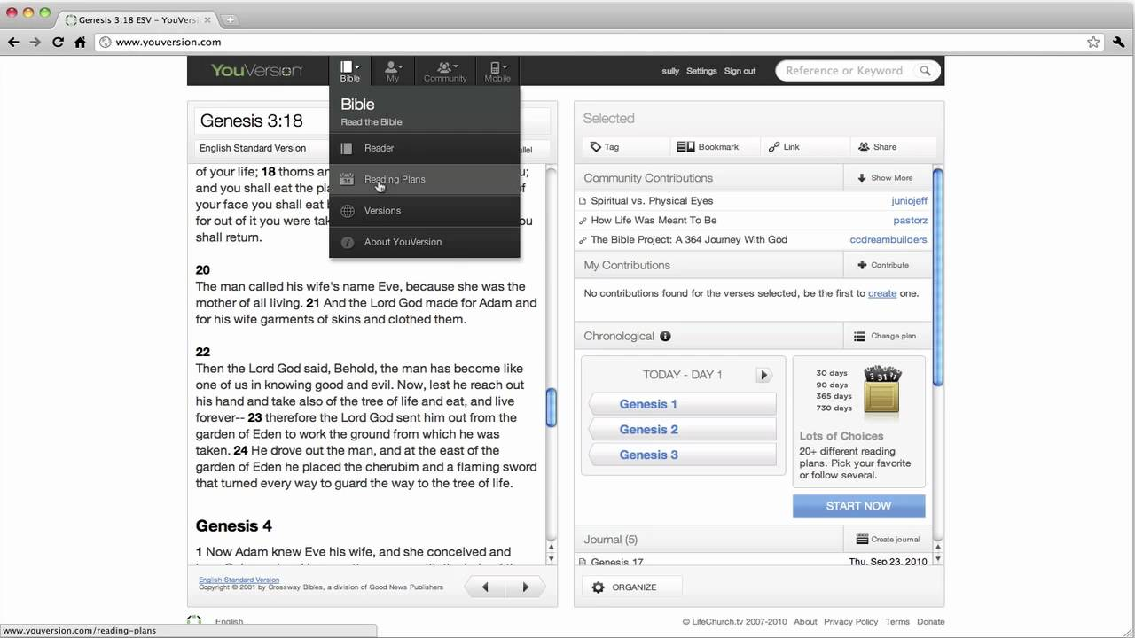 Activate the Chronological Reading Plan on YouVersion