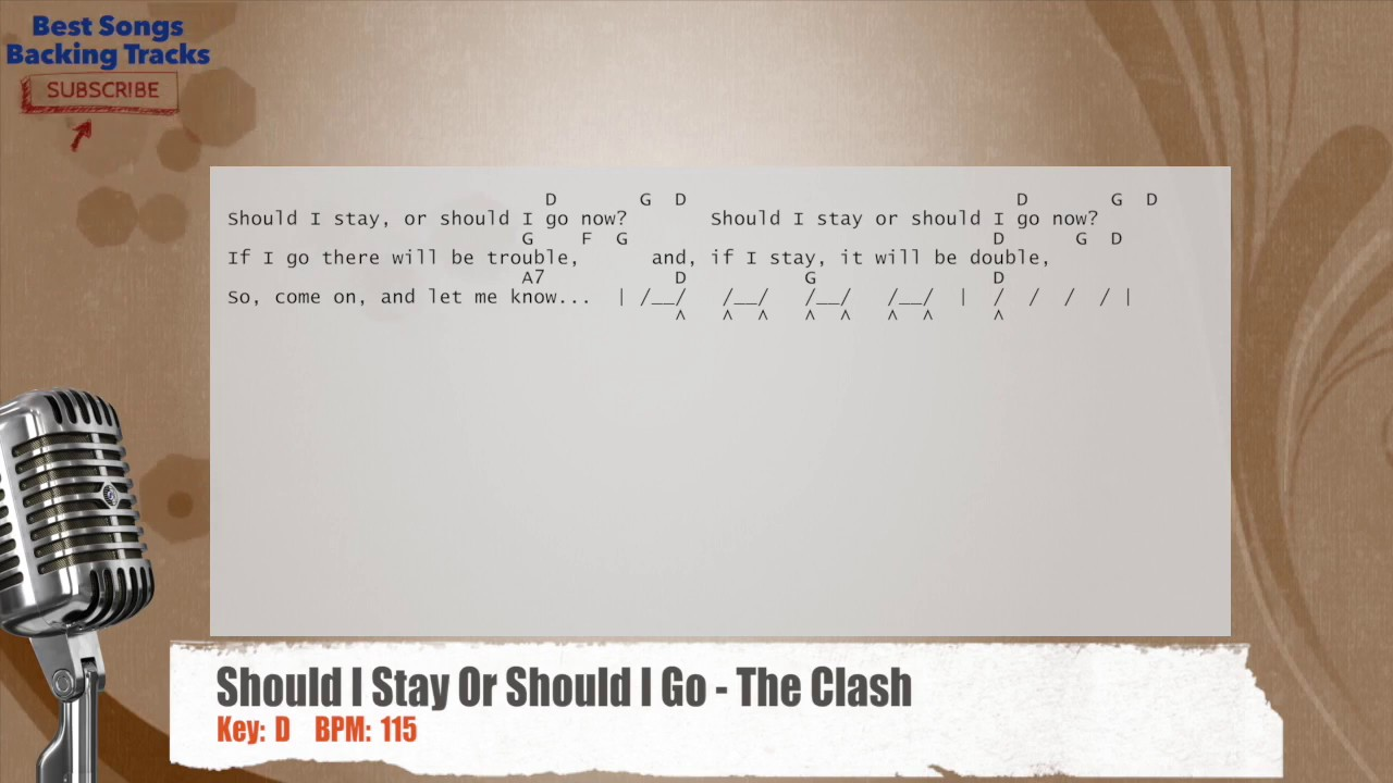 Should i stay or should i go the clash vocal backing track with should i stay or should i go the clash vocal backing track with chords and lyrics hexwebz Images