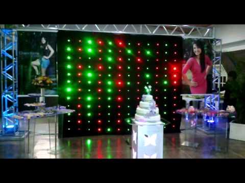 Festa 15 anos  Cortina de LED e PUFs de LED  Sonorus