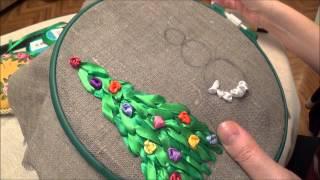 Вышивка лентами. Урок Новогодняя бутылочка. Часть 2/1. Снеговик.