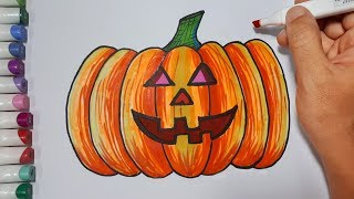 How to draw a pumpkin for halloween 2018 01