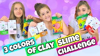 3 Colors of Clay Slime Challenge!  Daiso vs. Model Magic Clay Slime!