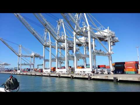 Ferry Ride View. Shipping Container Ship APL Florida. Port of Oakland CA