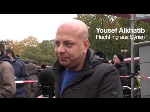 Demonstration von Flüchtlingshelfern gegen die Politik des Berliner Senats