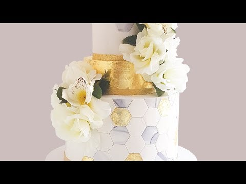 Gold Leaf Cake Decorating: Hexagon Wedding Cake- Rosie's Dessert Spot.