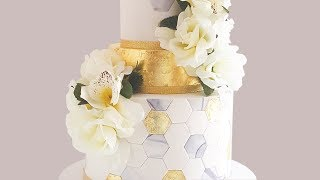 Gold Leaf Cake Decorating: Hexagon Wedding Cake- Rosie