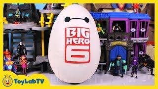 huge baymax play doh surprise egg with big hero 6 spongebob spiderman surprise toys