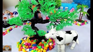 Kids Toy Funny Video / Beautiful Cow Funny Video / Big Truck Carry Color Stone Video