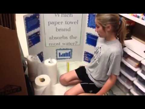 Which paper towel bran absorbs the most water - YouTube