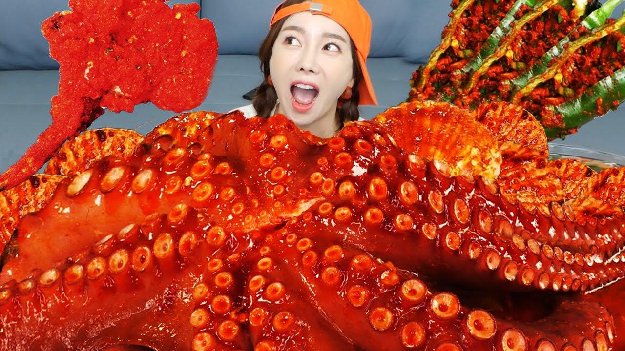 [Mukbang ASMR] 매콤 문어 해물찜 🐙 치토스 돈마호크 🥩 Octopus Cheetos Pork Tomahawk Cucumber Chili Kimchi Ssoyoung
