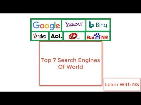 Top 7 Search Engines of World   Google   Bing   Yahoo   Ask.com   Aol.com   Baidu   Yandex.ru  