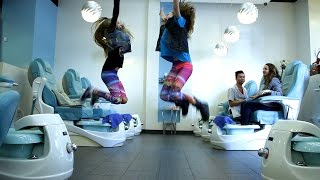 11 year old taylor hatala and 8 year old reese hatala dance off in nail salon