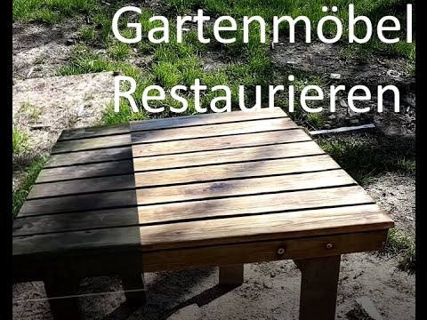 gartenm bel abschleifen und lackieren youtube. Black Bedroom Furniture Sets. Home Design Ideas