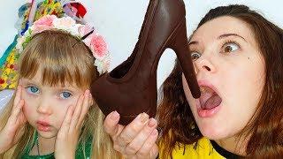 Настя про игры в челлендж съедобное как шоколад и настоящее