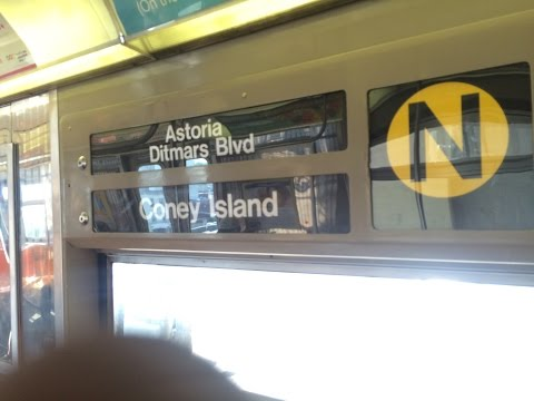 BMT Astoria Line: Ditmars Blvd Bound R68 (N) Train terminating at Astoria-Ditmars Blvd