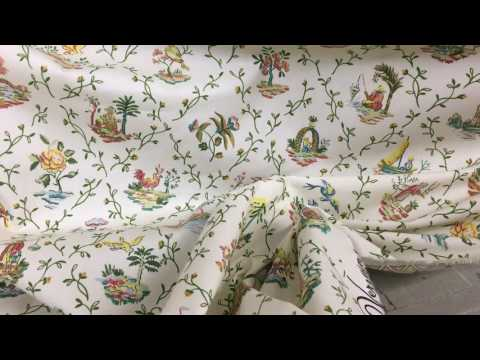 Asian Toile Fabric By The Yard W/ Fish Birds Boats Floral Lattice
